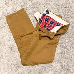 J. Crew Khakis with Red and Blue Flannel Lining